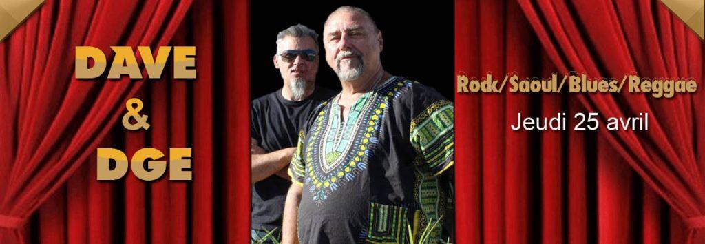 Dave et DGE en concert à Toulon en avril au Dakota Mourillon, restaurant musical Américain